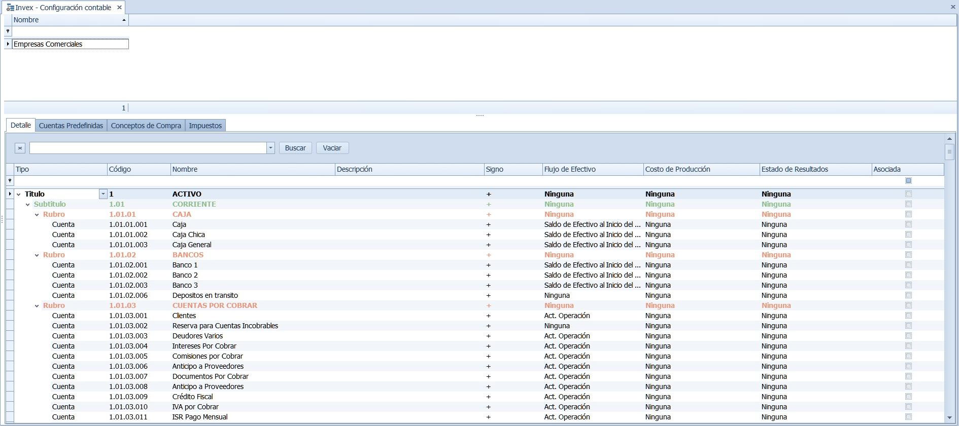 Ventana Configuración Contable en Invex ERP - Sisnova S.A.